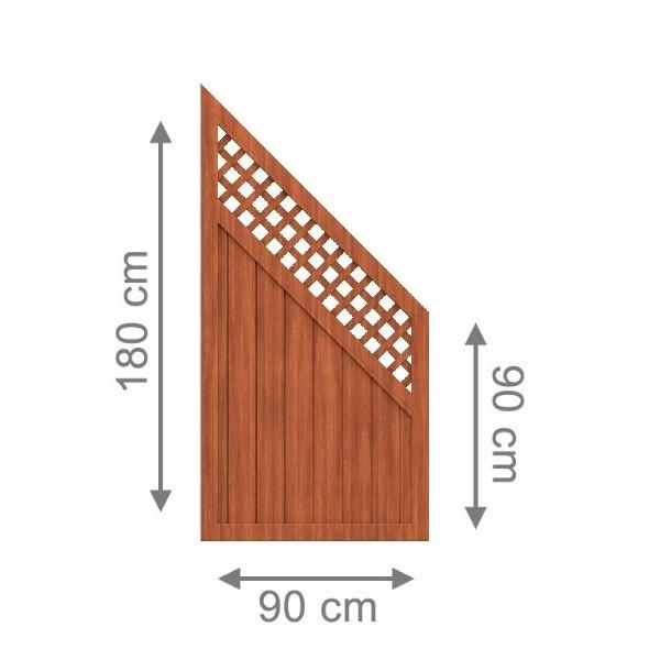 br gmann sichtschutzzaun longlife riva anschluss mit gitter braun 90 x 180 auf 90 cm. Black Bedroom Furniture Sets. Home Design Ideas