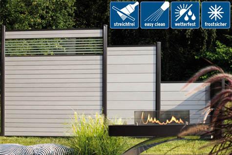 sichtschutzzaun system wpc grau variabler sichtschutz zaun. Black Bedroom Furniture Sets. Home Design Ideas