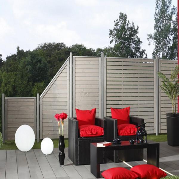 br gmann sichtschutzzaun neo rechteck offen grau lasiert 179 x 179 cm. Black Bedroom Furniture Sets. Home Design Ideas