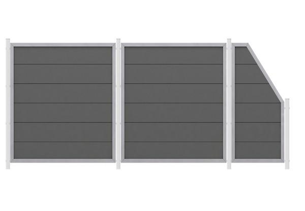 br gmann sichtschutzzaun wpc sparset design wpc alu anthrazit zum einbetonieren 4 84 m. Black Bedroom Furniture Sets. Home Design Ideas