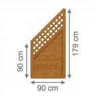 Brügmann Sichtschutzzaun ARZAGO Anschluss mit Gitter braun lasiert - 90 x 179 auf 90 cm