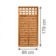 TraumGarten Sichtschutzzaun GALANT Rechteck mit Gitter braun lasiert - 89 x 179 cm