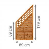 Brügmann Sichtschutzzaun GALANT Anschluss mit Gitter braun lasiert - 89 x 179 auf 89 cm