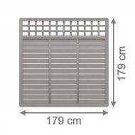 Brügmann Sichtschutzzaun GALANT Rechteck mit Gitter grau lasiert - 179 x 179 cm