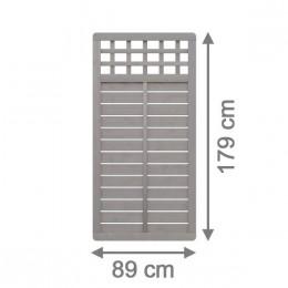 sichtschutzzaun galant 89 x 179 cm rechteck mit gitter grau lasiert. Black Bedroom Furniture Sets. Home Design Ideas