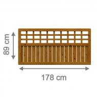 TraumGarten Sichtschutzzaun Como Rechteck mit Gitter braun lasiert - 178 x 89 cm