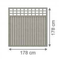 Brügmann Sichtschutzzaun COMO Rechteck mit Gitter grau lasiert - 178 x 178 cm