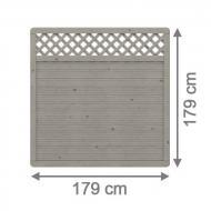 Brügmann Sichtschutzzaun ARZAGO Rechteck mit Gitter grau lasiert - 179 x 179 cm