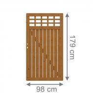 Brügmann Sichtschutzzaun COMO Tor mit Gitter braun lasiert - 98 x 179 cm