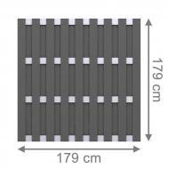 TraumGarten Sichtschutzzaun Jumbo WPC Alu-Design Rechteck anthrazit - 179 x 179 cm