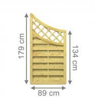 TraumGarten Sichtschutzzaun XL Anschluss kdi mit Gitter Bogen unten - 89 x 179 auf 134 cm