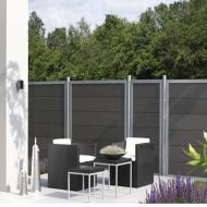 TraumGarten Sichtschutzzaun Design WPC Alu Rechteck anthrazit - 90 x 180cm